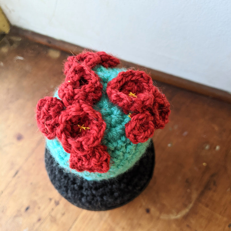 Crochet Cactus with Red Blooms in a Vintage Tobacco Tin