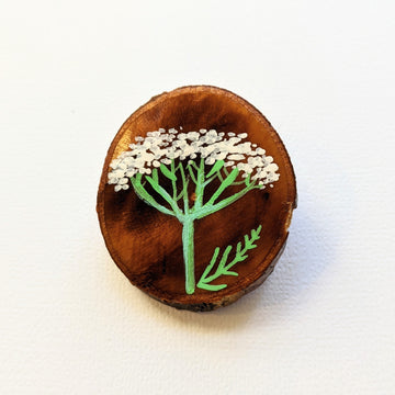 Queen Anne's Lace - Painted Maple Slice Brooch