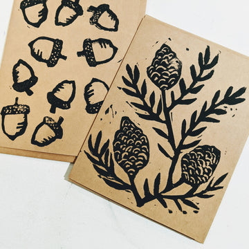 Pinecone Lino Print Cards - Black