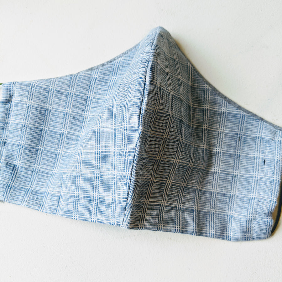 Face Mask - Light Blue Glen Check