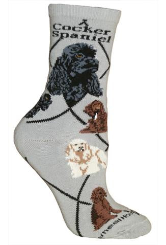 Cocker Spaniels on Gray Sock Size 10-13