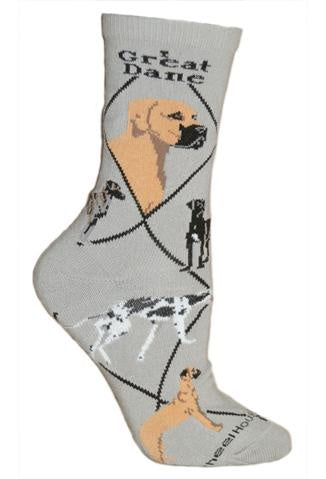 Great Dane on Gray Sock Size 9-11