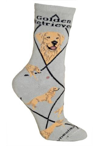 Golden Retriever on Gray Sock Size 9-11