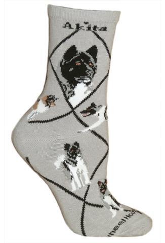 Akita on Gray Sock Size 10-13