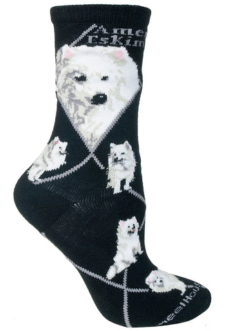 American Eskimo Dog on Black Sock Size 9-11