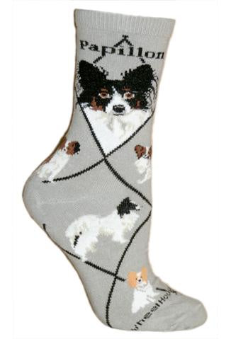 Papillon on Gray Sock Size 9-11