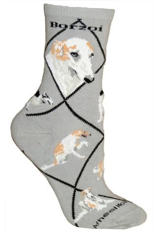Borzoi on Gray Sock Size 10-13