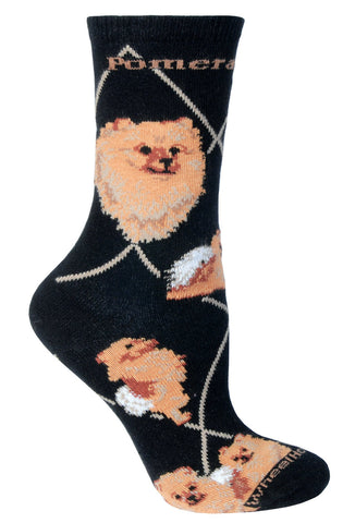 Pomeranian on Black Sock Size 9-11