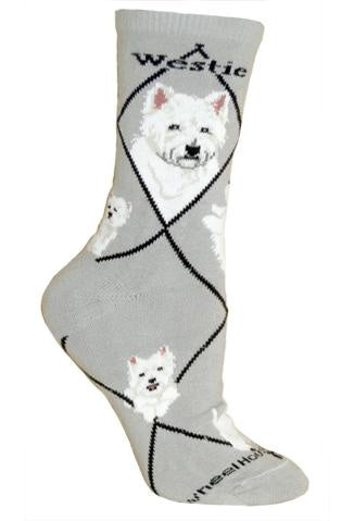 Westie on Gray Sock Size 9-11