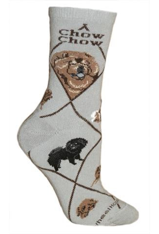 Chow Chow on Gray Sock Size 9-11