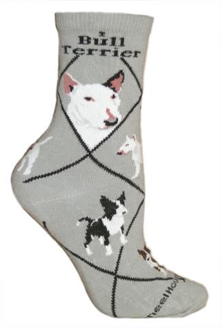 Bull Terrier on Gray Sock Size 10-13