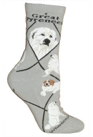 Great Pyrenees on Gray Sock Size 9-11