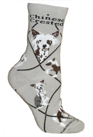 Chinese Crested on Gray Sock Size 10-13