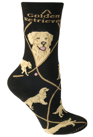 Golden Retriever on Black Sock Size 10-13