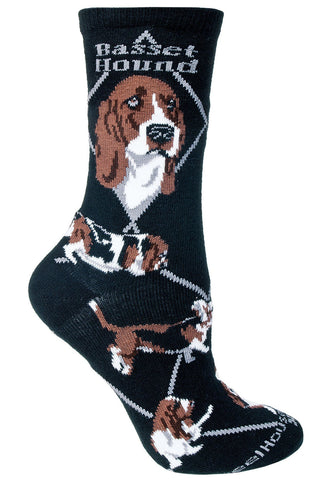Basset Hound on Black Sock Size 10-13