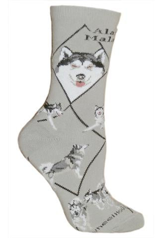 Alaskan Malamute on Gray Sock Size 10-13