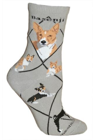 Basenji on Gray Sock Size 10-13
