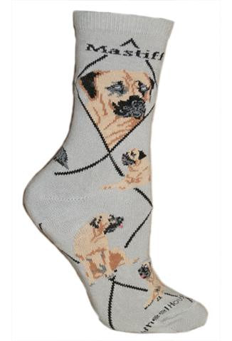 Mastiff on Gray Sock Size 9-11