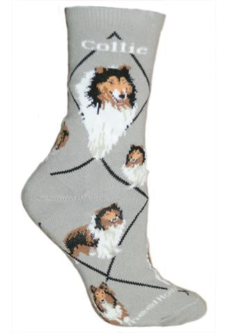 Collie on Gray Sock Size 10-13