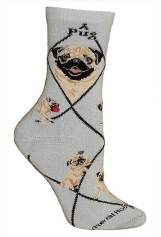 Pug Fawn on Gray Sock Size 9-11