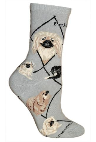 Pekingese on Gray Sock Size 9-11