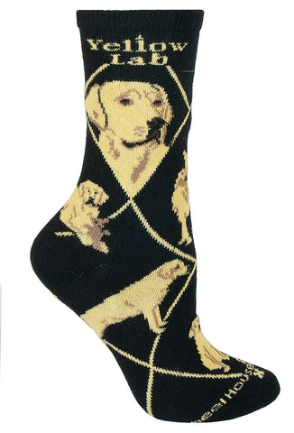 Labrador Yellow on Black Sock Size 10-13
