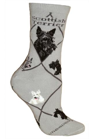 Scottish Terrier on Gray Sock Size 9-11