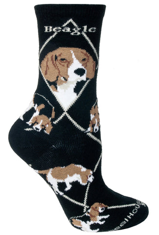 Beagles on Black Sock Size 10-13