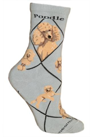 Poodle Apricot on Gray Sock Size 9-11