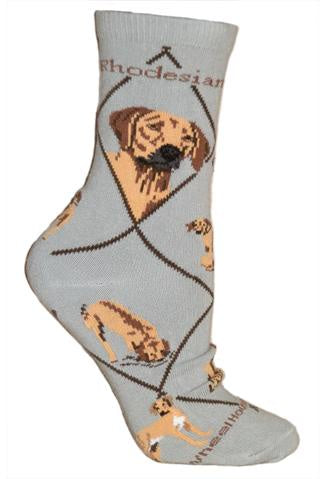 Rhodesian Ridgeback on Gray Sock Size 10-13