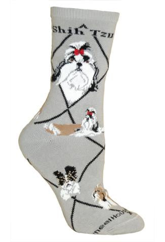 Shih Tzu on Gray Sock Size 9-11