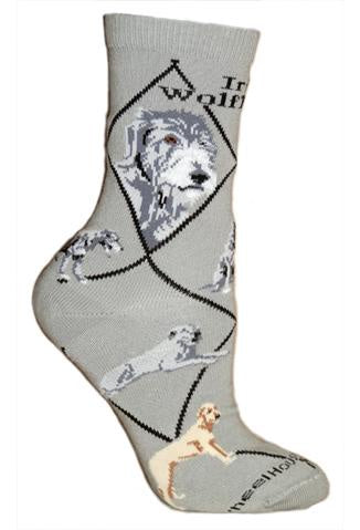 Irish Wolfhound on Gray Sock Size 9-11