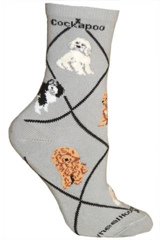 Cockapoo on Gray Sock Size 10-13