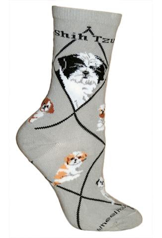 Shih Tzu Pup on Gray Sock Size 9-11