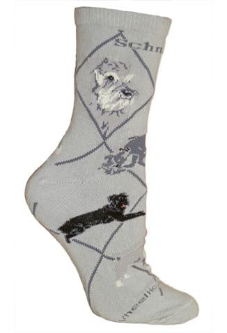 Schnauzer on Gray Sock Size 9-11