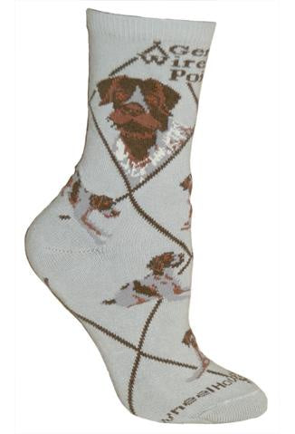 German Wirehaired Pointer on Gray Sock Size 9-11