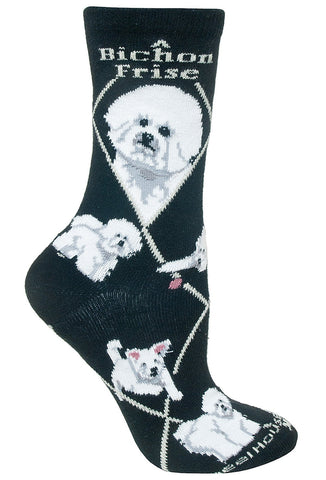 Bichon Frise on Black Sock Size 10-13