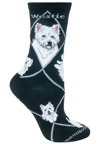 Westie on Black Sock Size 9-11
