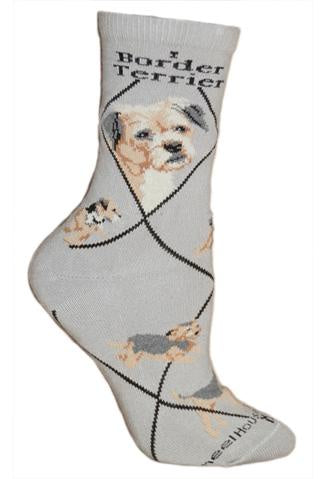 Border Terrier on Gray Sock Size 9-11
