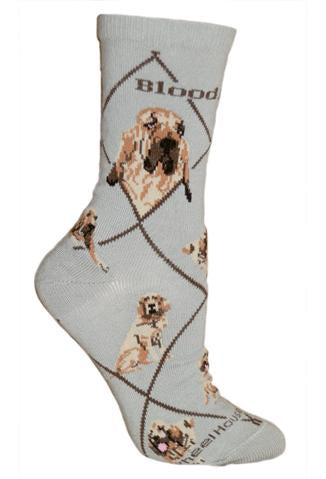 Bloodhound on Gray Sock Size 9-11