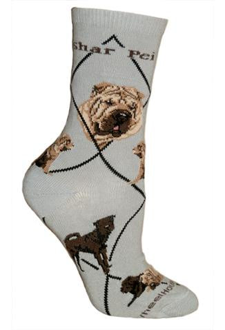 Shar Pei on Gray Sock Size 9-11