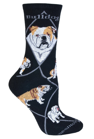 Bulldog on Black Sock Size 10-13
