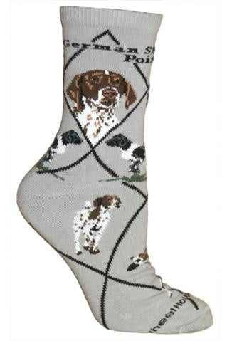 German Shorthaired Pointer on Gray Sock Size 10-13