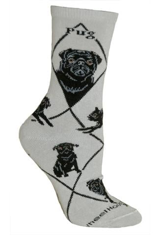 Pug Black on Gray Sock Size 9-11
