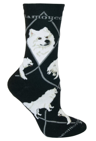 Samoyed on Black Sock Size 9-11