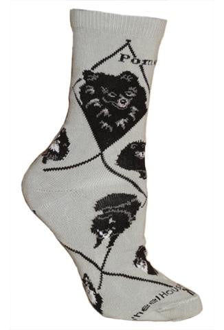 Pomeranian Black on Gray Sock Size 9-11