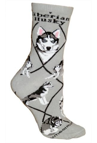 Siberian Husky on Gray Sock Size 9-11
