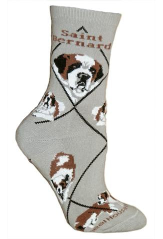Saint Bernard on Gray Sock Size 9-11