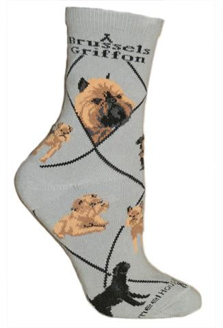 Brussels Griffon on Gray Sock Size 10-13