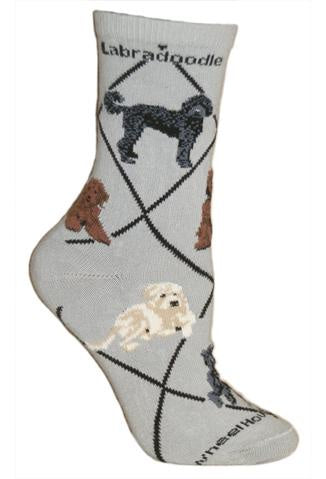 Labradoodle on Gray Sock Size 9-11